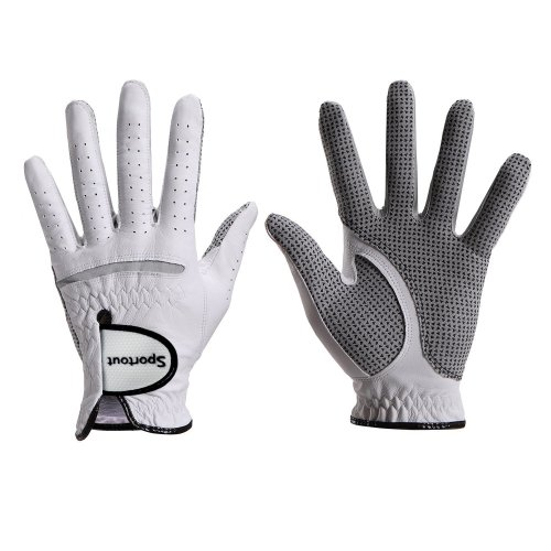 Men's Compression-Fit Stable-Grip Genuine Cabretta Leather Golf Glove, Super Soft, Flexible, Wear Resistant and Comfortable, S-XXXL,White (S, Worn...