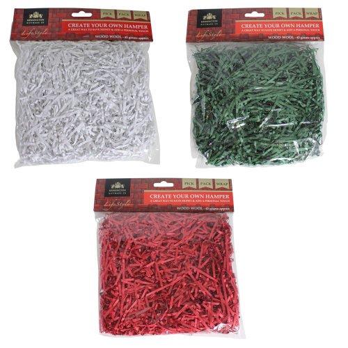 Make Your Own Hamper Shredded Crinkle Paper - Filling 42g Bag Wood Wool Choose -  hamper filling 42g bag shredded wood wool choose colour christmas