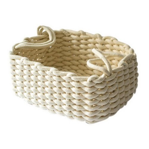 Hand-woven Thick Cotton Rope Basket Desktop Key Snack Toys Storage Basket, Beige