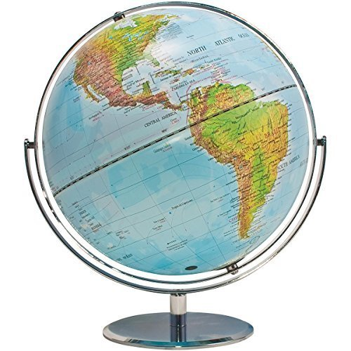 ADVANTUS Physical and Political 12-Inch World Globe, Silver Metal Desktop Base (30503)