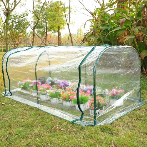 Outsunny Large Transparent Pvc Tunnel Greenhouse  Steel Frame 200x100x80cm