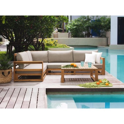 Sectional Outdoor Sofa Set - 5- Piece Patio Conversation Set - Brown - TIMOR