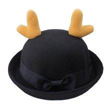 [Antlers Black] Lovely Baby Woolen Hat Children Bucket Hat Bowler Hat