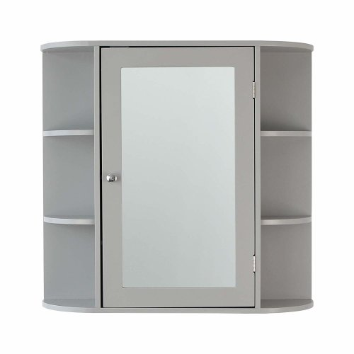 Grey Wooden Bathroom Mirrored Mirror Cabinet