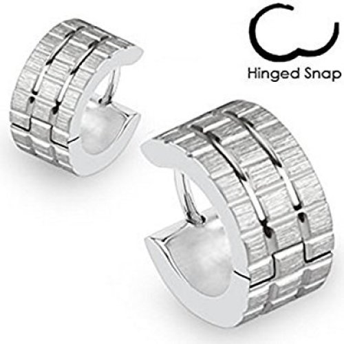 Pair of Brushed Steel Square Grids Surgical Steel Hinged Snap Close Huggy Hooped Earrings 0.8mm Thickness