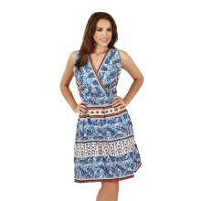 Martildo Fashion, Ladies Knee Length Floral Print Crossover Dress, Blue, Small (UK 8-10)