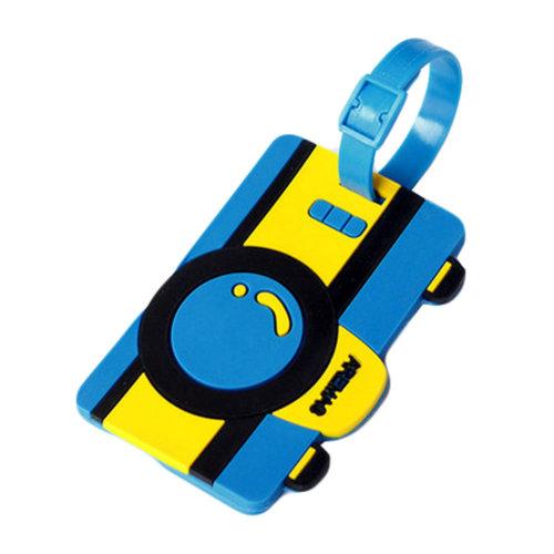 Cute Cartoon Camera Silicon Luggage Tag Name Tag Unique Hangtag(Blue 10.5*6.5CM)