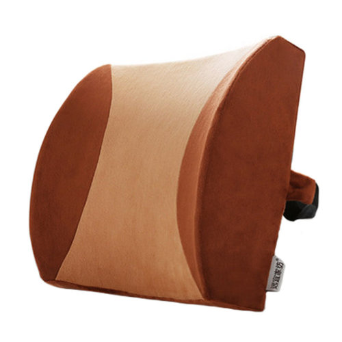Lumbar Support Back Cushion Pillow Backrest for Home/Office/Car Seat Brown+Camel