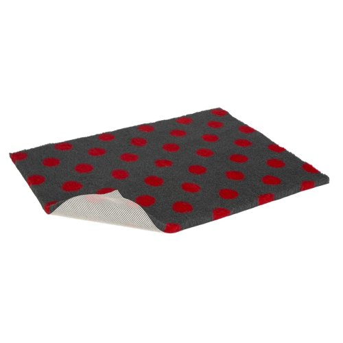 Non-slip Vetbed Half Roll Charcoal With Red Polka Dot 10m