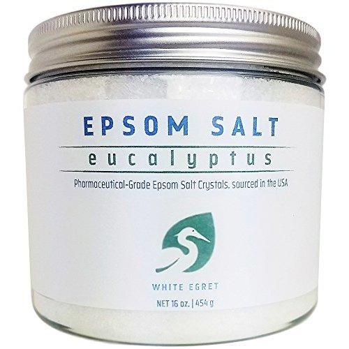 White Egret Pharmaceutical Grade Bath Epsom Salt Eucalyptus 16 Ounce