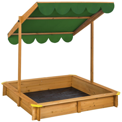 Sandpit with adjustable roof green