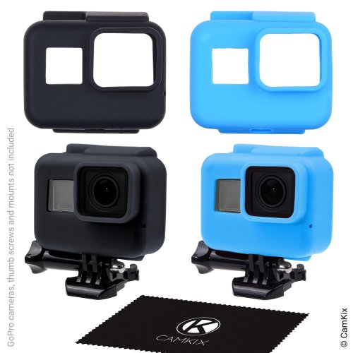 CamKix replacement Silicone Sleeve Cases compatible with The Frame of your Gopro Hero 7 / 6 / 5 Black - 2 Protective Covers - Black / Blue -...