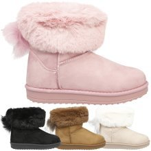 Georgia Girls Kids Low Heels Fur Lined Ankle Boots