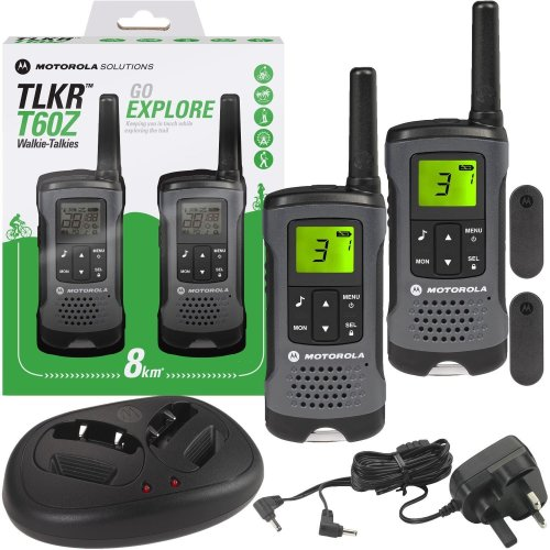Motorola TLKR T60Z Walkie Talkie PMR446 5m Radio Rechargeable Twin Pack +Charger