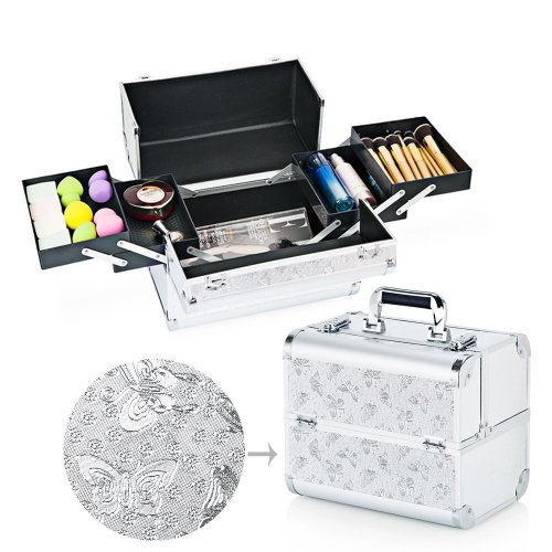 a25451a5a918 Hotrose Extra Large Space Storage Beauty Box Make up Nail Jewelry Cosmetic  Vanity Case (Butterfly Pattern, Silver)